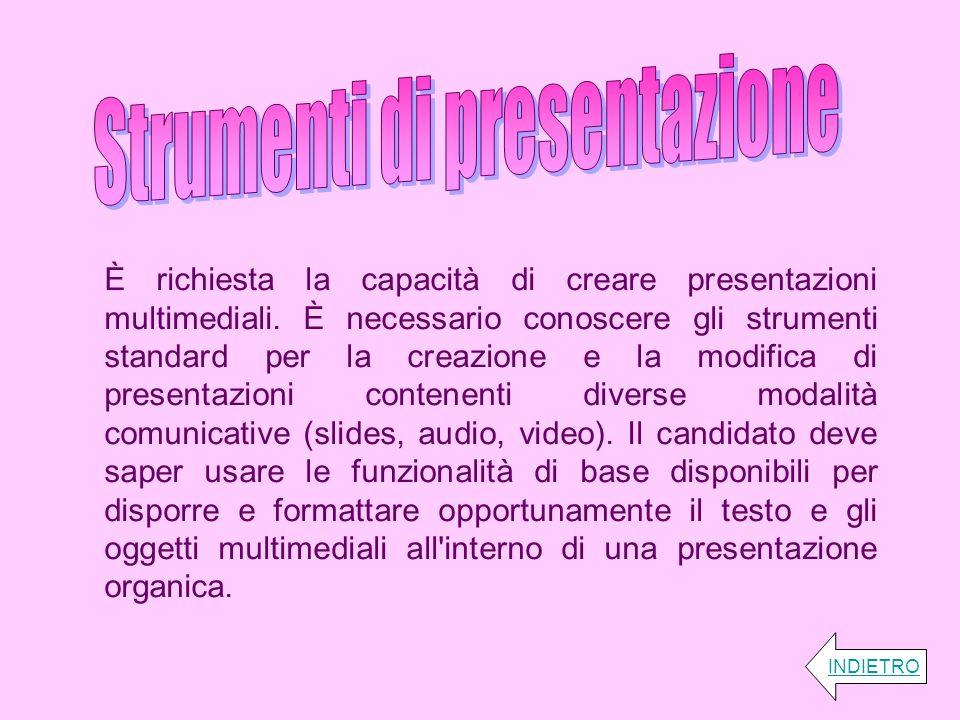 È richiesta la capacità di creare presentazioni multimediali. È necessario conoscere gli strumenti standard per la creazione e la modifica di presenta