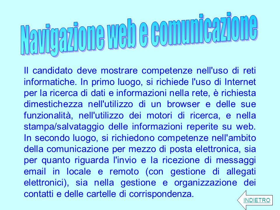 Il candidato deve mostrare competenze nell'uso di reti informatiche. In primo luogo, si richiede l'uso di Internet per la ricerca di dati e informazio