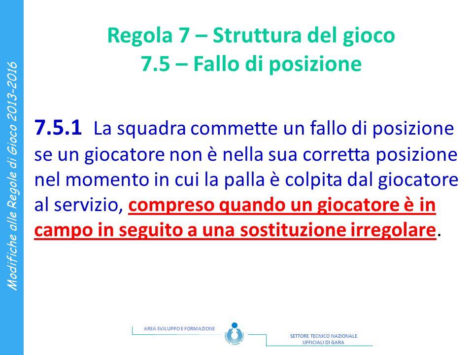 AREA SVILUPPO E FORMAZIONE SETTORE TECNICO NAZIONALE UFFICIALI DI GARA Modifiche alle Regole di Gioco 2013-2016 Regola 7 – Struttura del gioco 7.5 – F
