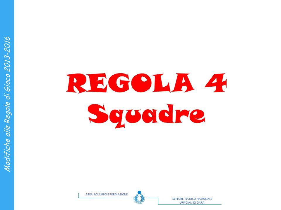 AREA SVILUPPO E FORMAZIONE SETTORE TECNICO NAZIONALE UFFICIALI DI GARA Modifiche alle Regole di Gioco 2013-2016 REGOLA 4 Squadre