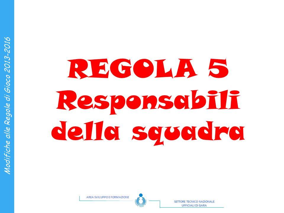 AREA SVILUPPO E FORMAZIONE SETTORE TECNICO NAZIONALE UFFICIALI DI GARA Modifiche alle Regole di Gioco 2013-2016 REGOLA 5 Responsabili della squadra