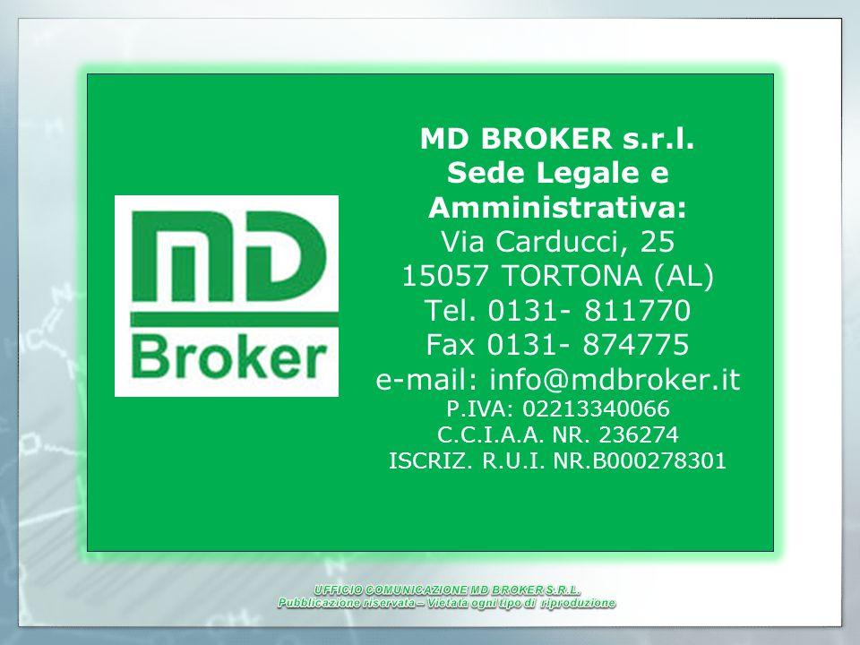 MD BROKER s.r.l. Sede Legale e Amministrativa: Via Carducci, 25 15057 TORTONA (AL) Tel. 0131- 811770 Fax 0131- 874775 e-mail: info@mdbroker.it P.IVA: