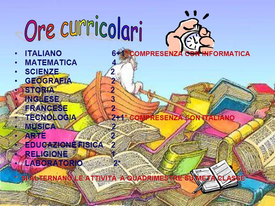 ITALIANO 6+1* COMPRESENZA CON INFORMATICA MATEMATICA 4 SCIENZE 2 GEOGRAFIA 2 STORIA 2 INGLESE 3 FRANCESE 2 TECNOLOGIA 2+1* COMPRESENZA CON ITALIANO MU
