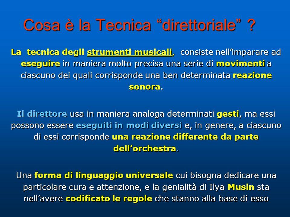 Cosa è la Tecnica direttoriale ? La tecnica degli strumenti musicali, consiste nellimparare ad eseguire in maniera molto precisa una serie di moviment