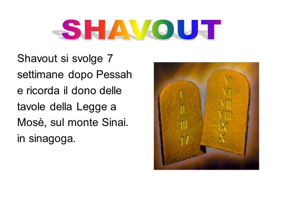 Shavout si svolge 7 settimane dopo Pessah e ricorda il dono delle tavole della Legge a Mosè, sul monte Sinai. in sinagoga.