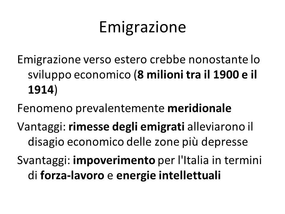 Emigrazione Emigrazione verso estero crebbe nonostante lo sviluppo economico (8 milioni tra il 1900 e il 1914) Fenomeno prevalentemente meridionale Va