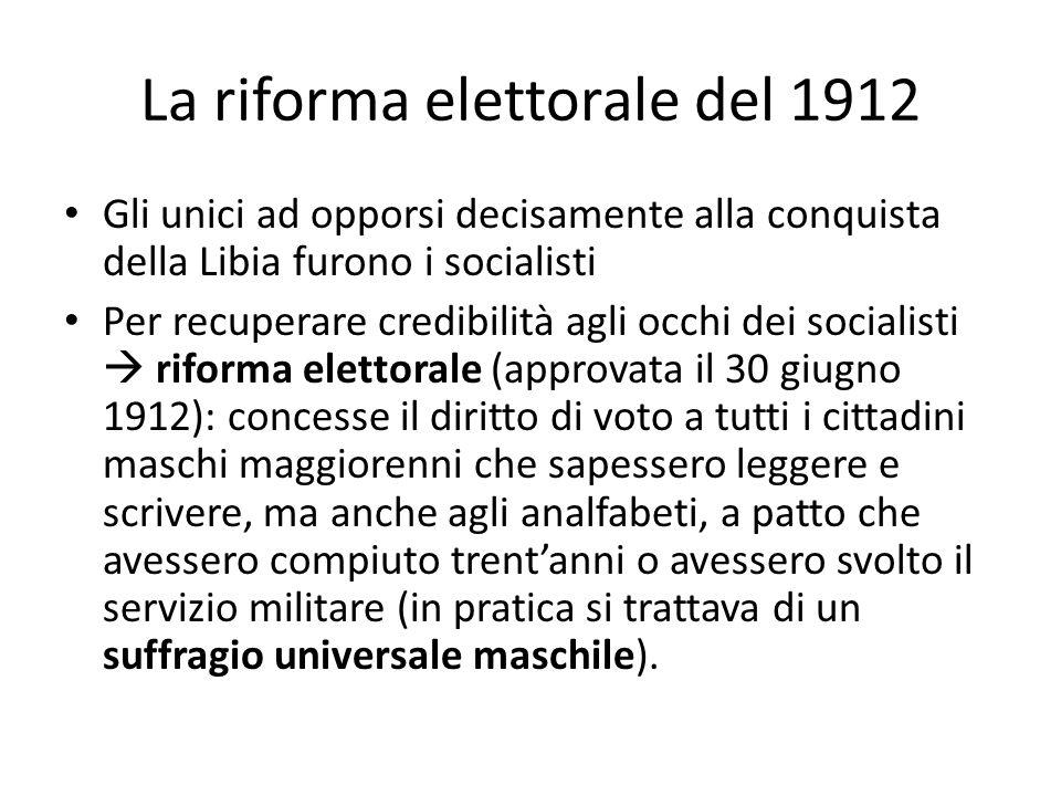La riforma elettorale del 1912 Gli unici ad opporsi decisamente alla conquista della Libia furono i socialisti Per recuperare credibilità agli occhi d