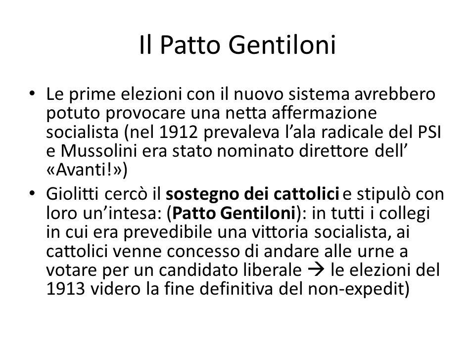 Il Patto Gentiloni Le prime elezioni con il nuovo sistema avrebbero potuto provocare una netta affermazione socialista (nel 1912 prevaleva lala radica