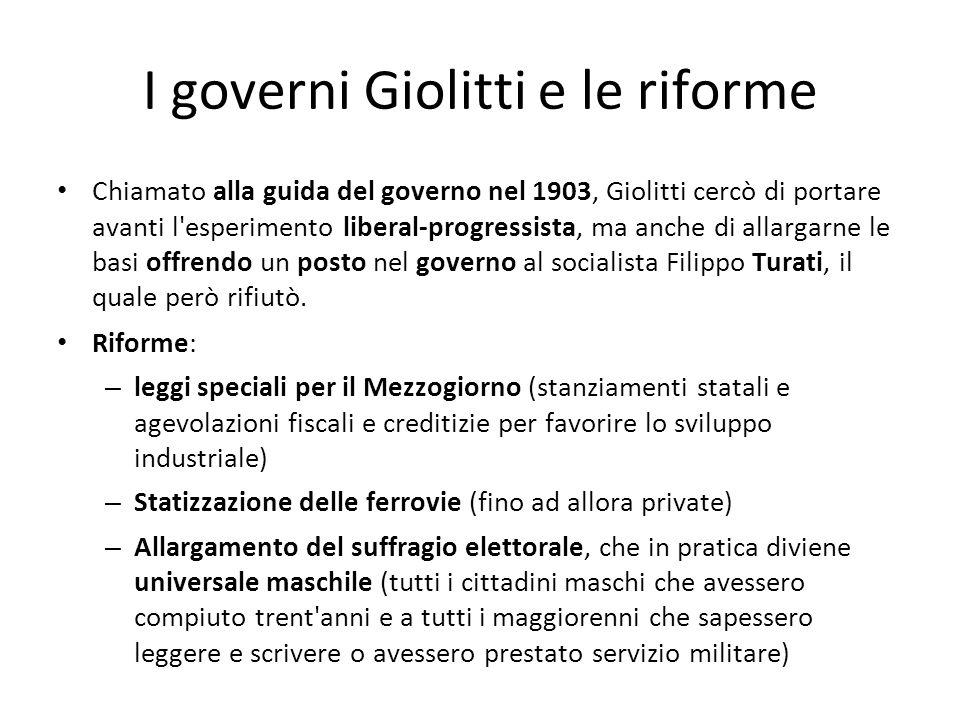 I governi Giolitti e le riforme Chiamato alla guida del governo nel 1903, Giolitti cercò di portare avanti l'esperimento liberal-progressista, ma anch