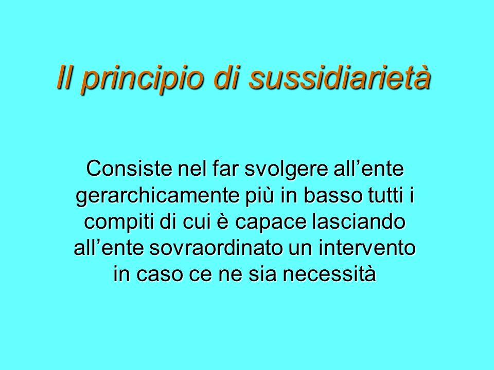 Il principio di sussidiarietà Consiste nel far svolgere allente gerarchicamente più in basso tutti i compiti di cui è capace lasciando allente sovraordinato un intervento in caso ce ne sia necessità