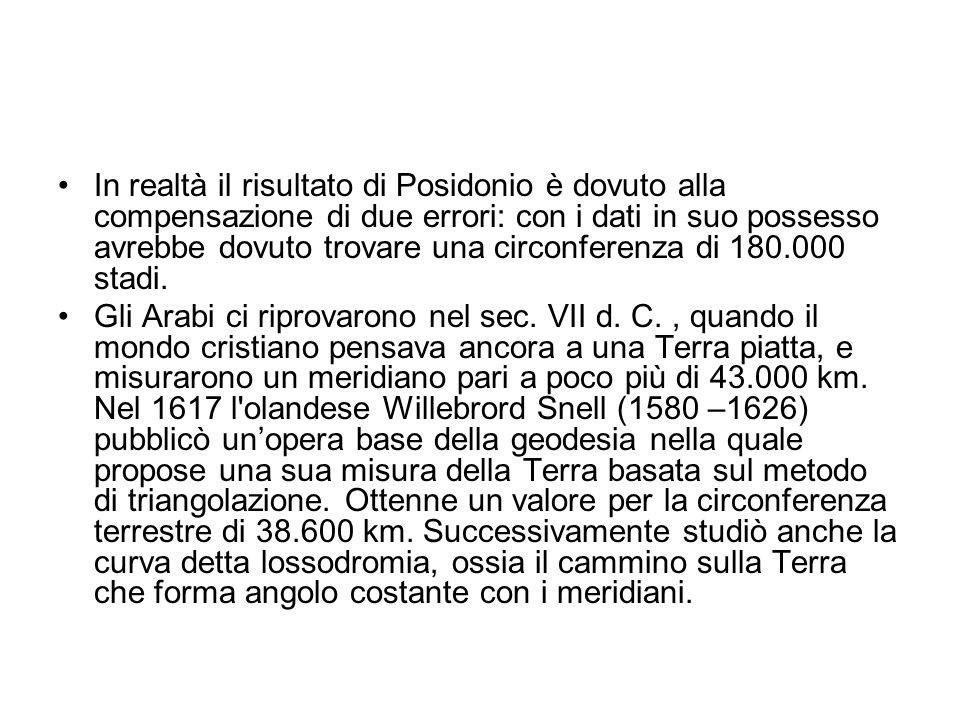 In realtà il risultato di Posidonio è dovuto alla compensazione di due errori: con i dati in suo possesso avrebbe dovuto trovare una circonferenza di