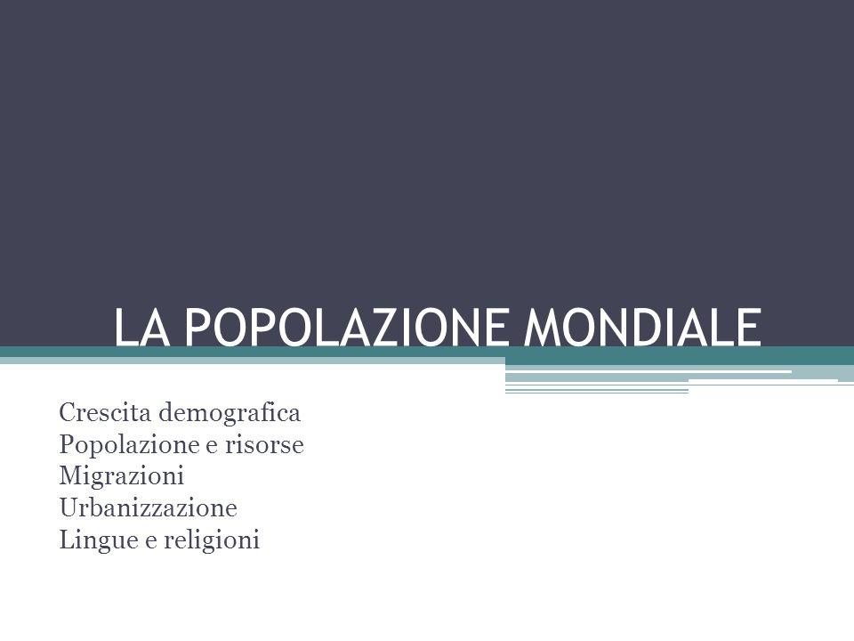 LA POPOLAZIONE MONDIALE Crescita demografica Popolazione e risorse Migrazioni Urbanizzazione Lingue e religioni