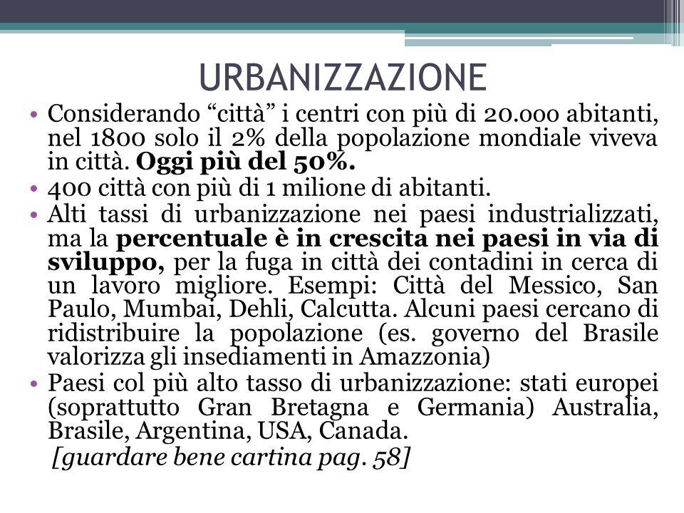 URBANIZZAZIONE Considerando città i centri con più di 20.ooo abitanti, nel 1800 solo il 2% della popolazione mondiale viveva in città. Oggi più del 50