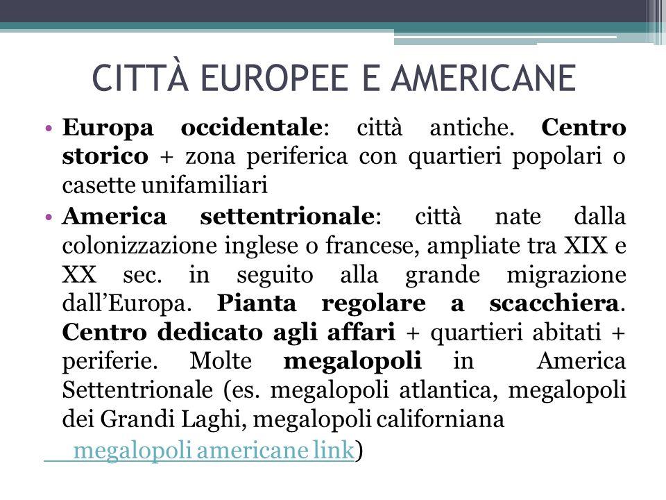 CITTÀ EUROPEE E AMERICANE Europa occidentale: città antiche. Centro storico + zona periferica con quartieri popolari o casette unifamiliari America se