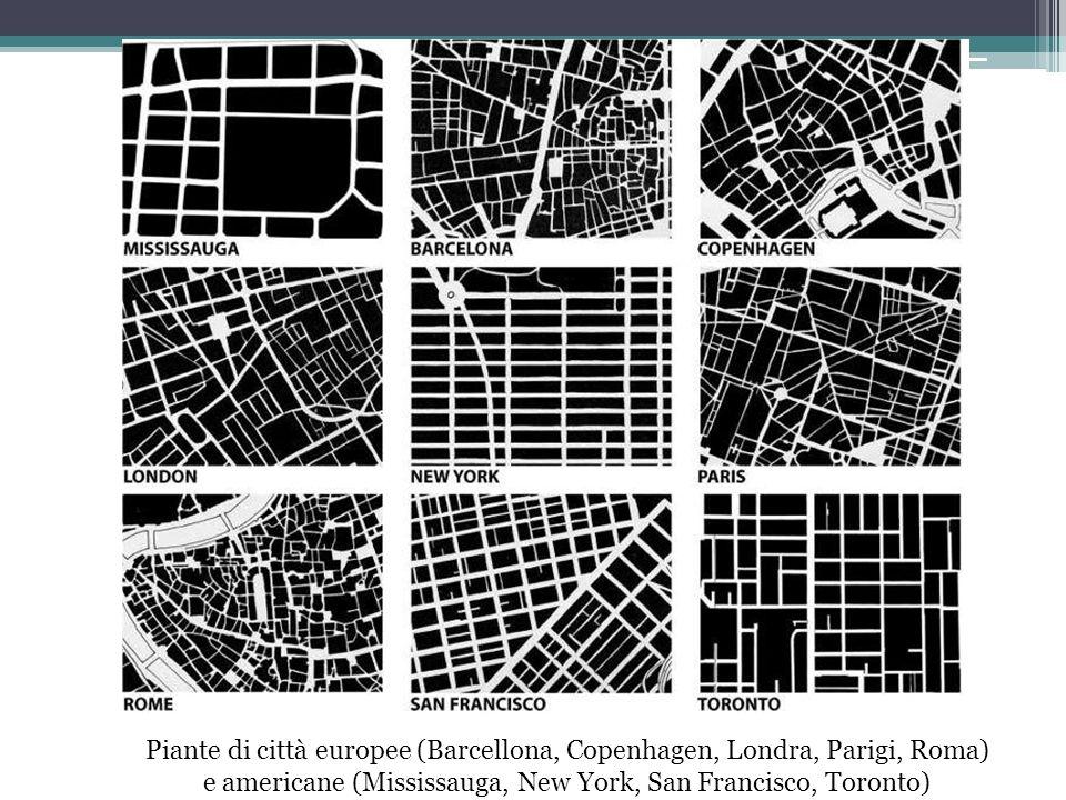 Piante di città europee (Barcellona, Copenhagen, Londra, Parigi, Roma) e americane (Mississauga, New York, San Francisco, Toronto)
