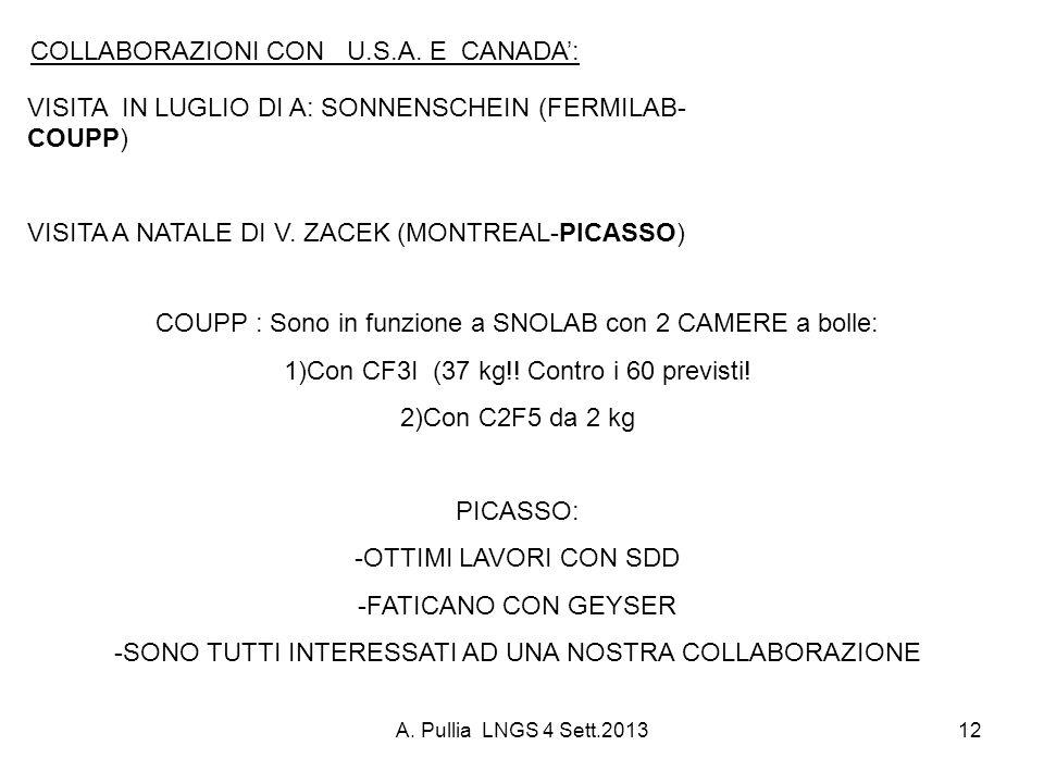 A. Pullia LNGS 4 Sett.201312 VISITA IN LUGLIO DI A: SONNENSCHEIN (FERMILAB- COUPP) VISITA A NATALE DI V. ZACEK (MONTREAL-PICASSO) COLLABORAZIONI CON U