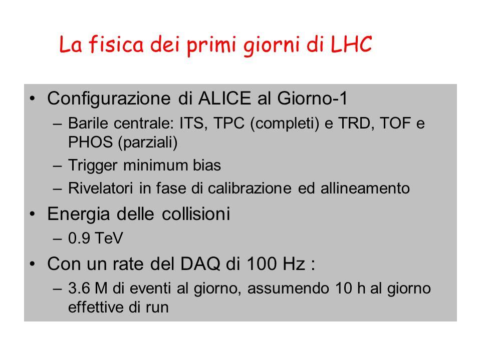 La fisica dei primi giorni di LHC Configurazione di ALICE al Giorno-1 –Barile centrale: ITS, TPC (completi) e TRD, TOF e PHOS (parziali) –Trigger minimum bias –Rivelatori in fase di calibrazione ed allineamento Energia delle collisioni –0.9 TeV Con un rate del DAQ di 100 Hz : –3.6 M di eventi al giorno, assumendo 10 h al giorno effettive di run