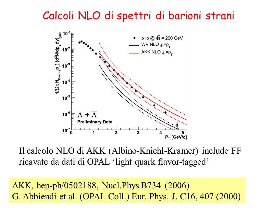 Calcoli NLO di spettri di barioni strani AKK, hep-ph/0502188, Nucl.Phys.B734 (2006) G. Abbiendi et al. (OPAL Coll.) Eur. Phys. J. C16, 407 (2000) Il c