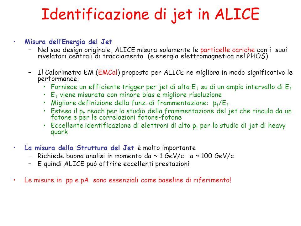 Identificazione di jet in ALICE Misura dellEnergia del Jet –Nel suo design originale, ALICE misura solamente le particelle cariche con i suoi rivelatori centrali di tracciamento (e energia elettromagnetica nel PHOS) –Il Calorimetro EM (EMCal) proposto per ALICE ne migliora in modo significativo le performance: Fornisce un efficiente trigger per jet di alta E T su di un ampio intervallo di E T E T viene misurata con minore bias e migliore risoluzione Migliore definizione della funz.