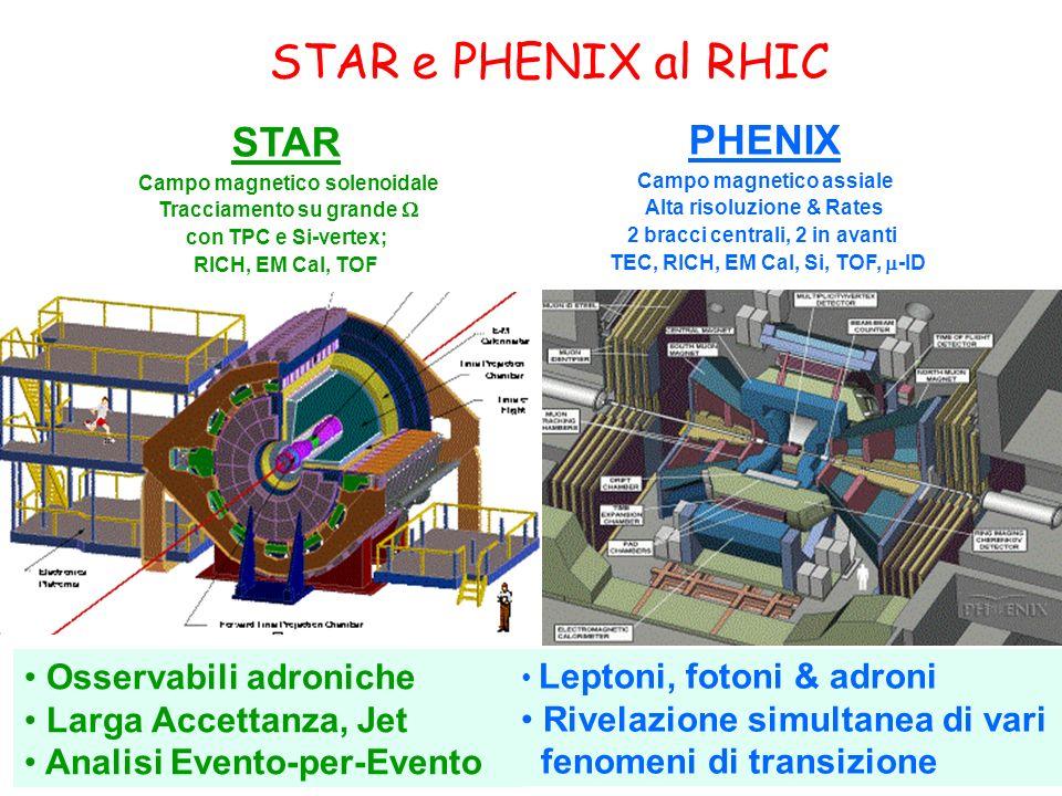 STAR e PHENIX al RHIC Osservabili adroniche Larga Accettanza, Jet Analisi Evento-per-Evento STAR Campo magnetico solenoidale Tracciamento su grande con TPC e Si-vertex; RICH, EM Cal, TOF PHENIX Campo magnetico assiale Alta risoluzione & Rates 2 bracci centrali, 2 in avanti TEC, RICH, EM Cal, Si, TOF, -ID Leptoni, fotoni & adroni Rivelazione simultanea di vari fenomeni di transizione