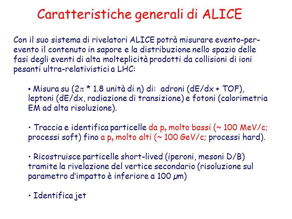 Con il suo sistema di rivelatori ALICE potrà misurare evento-per- evento il contenuto in sapore e la distribuzione nello spazio delle fasi degli eventi di alta molteplicità prodotti da collisioni di ioni pesanti ultra-relativistici a LHC: Misura su (2 * 1.8 unità di η) di: adroni (dE/dx + TOF), leptoni (dE/dx, radiazione di transizione) e fotoni (calorimetria EM ad alta risoluzione).