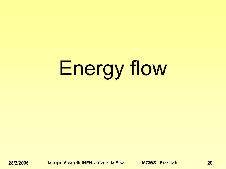 MCWS - Frascati 28/2/2006 Iacopo Vivarelli-INFN/Università Pisa 20 Energy flow