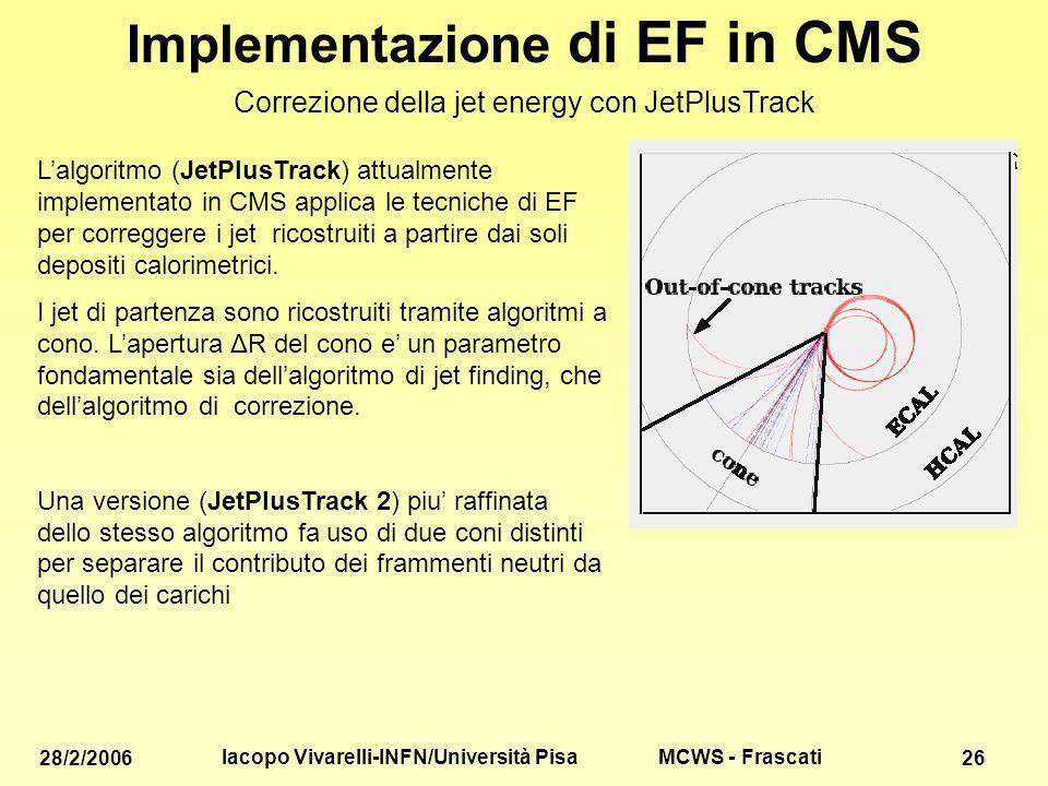 MCWS - Frascati 28/2/2006 Iacopo Vivarelli-INFN/Università Pisa 26 Implementazione di EF in CMS Correzione della jet energy con JetPlusTrack Lalgoritmo (JetPlusTrack) attualmente implementato in CMS applica le tecniche di EF per correggere i jet ricostruiti a partire dai soli depositi calorimetrici.