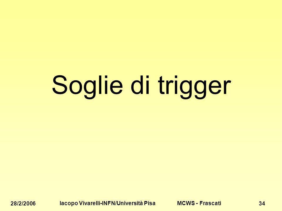 MCWS - Frascati 28/2/2006 Iacopo Vivarelli-INFN/Università Pisa 34 Soglie di trigger