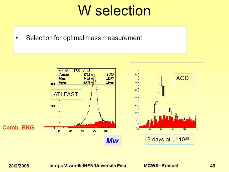 MCWS - Frascati 28/2/2006 Iacopo Vivarelli-INFN/Università Pisa 49 W selection Selection for optimal mass measurement Comb.