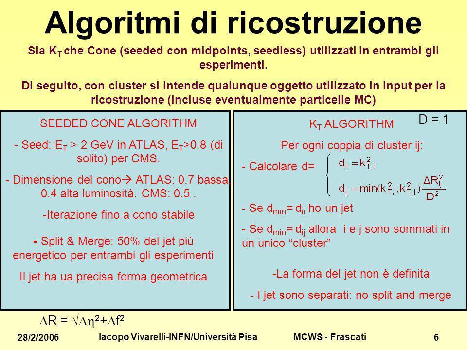MCWS - Frascati 28/2/2006 Iacopo Vivarelli-INFN/Università Pisa 6 Algoritmi di ricostruzione Sia K T che Cone (seeded con midpoints, seedless) utilizzati in entrambi gli esperimenti.