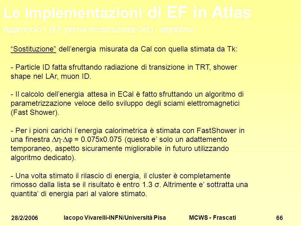 MCWS - Frascati 28/2/2006 Iacopo Vivarelli-INFN/Università Pisa 66 Le Implementazioni di EF in Atlas Approccio 1 (EF prima ricostruzione Jet) - algoritmo Sostituzione dellenergia misurata da Cal con quella stimata da Tk: - Particle ID fatta sfruttando radiazione di transizione in TRT, shower shape nel LAr, muon ID.