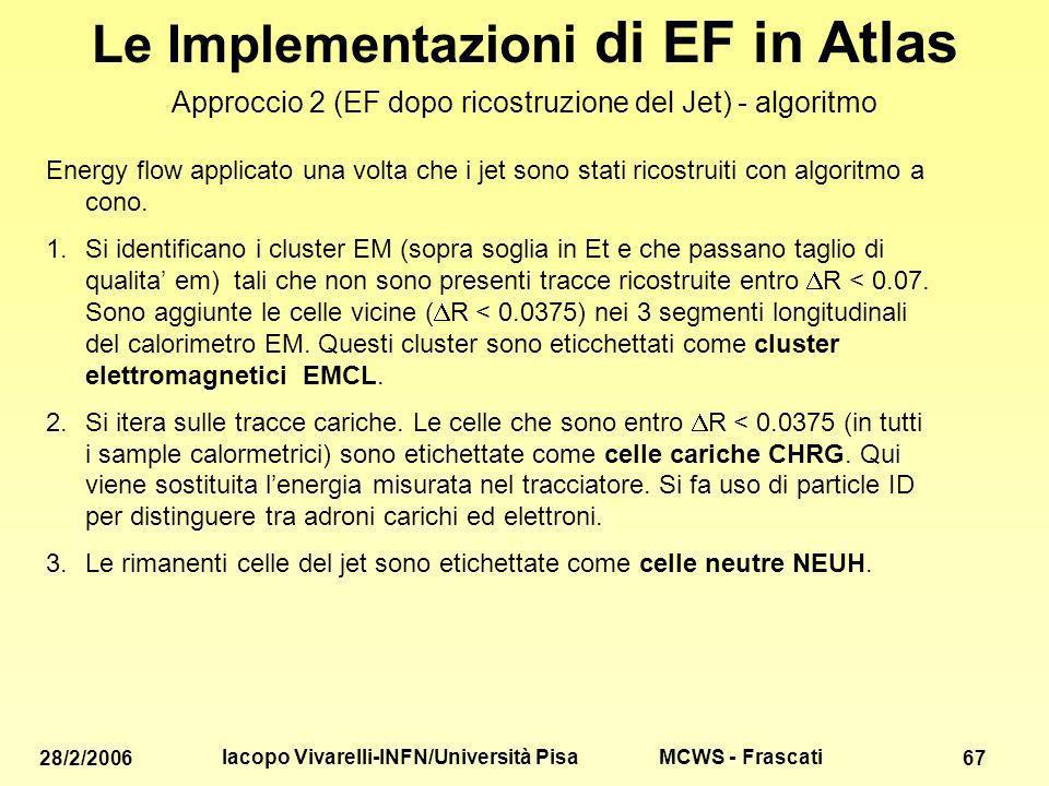 MCWS - Frascati 28/2/2006 Iacopo Vivarelli-INFN/Università Pisa 67 Le Implementazioni di EF in Atlas Approccio 2 (EF dopo ricostruzione del Jet) - algoritmo Energy flow applicato una volta che i jet sono stati ricostruiti con algoritmo a cono.
