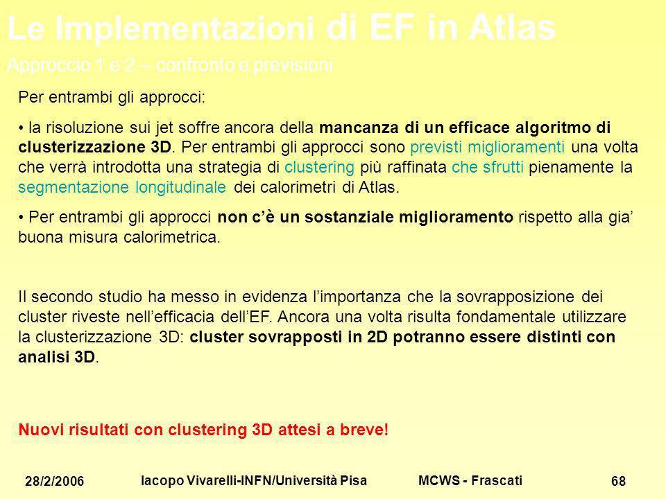 MCWS - Frascati 28/2/2006 Iacopo Vivarelli-INFN/Università Pisa 68 Per entrambi gli approcci: la risoluzione sui jet soffre ancora della mancanza di un efficace algoritmo di clusterizzazione 3D.