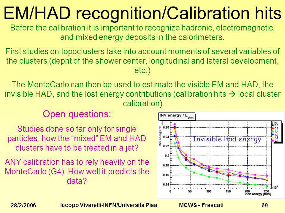 MCWS - Frascati 28/2/2006 Iacopo Vivarelli-INFN/Università Pisa 69 EM/HAD recognition/Calibration hits Before the calibration it is important to recognize hadronic, electromagnetic, and mixed energy deposits in the calorimeters.