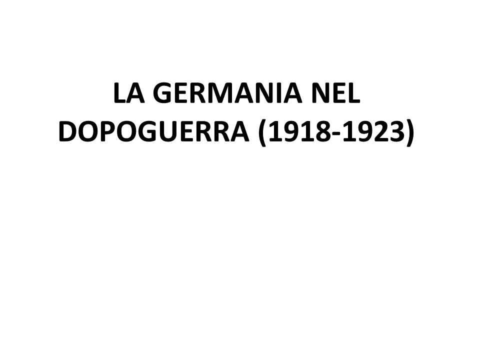 FUGA DELLIMPERATORE (NOVEMBRE 1918) FORMAZIONE DI UN GOVERNO PROVVISORIO INSURREZIONE SPARTACHISTA PACE DI VERSAILLES (1919) AGGRAVAMENTO DELLA CRISI ECONOMICA - INFLAZIONE, DISOCCUPAZIONE FRUSTRAZIONE PER LA PACE UMILIANTE - REVANSCISMO MALCONTENTO SOCIALE E TENSIONE POLITICA MOVIMENTI ESTREMISTI DI DESTRA NAZIONALISTI E DI SINISTRA SPARTACHISTI REPRESSIONE DELLA RIVOLTA E NASCITA DELLA REPUBBLICA DI WEIMAR(GENNAIO 1919) GUIDATA DAI SOCIALDEMOCRATICI CRISI ECONOMICA E SOCIALE POSTBELLICA INSODDISFAZIONE NEI CONFRONTI DEL GOVERNO RAFFORZAMENTO DELLE IDEOLOGIE DI ESTREMA DESTRA ANTIDEMOCRATICHE PUTSCH DI MONACO (1923), FALLIMENTO E ARRESTO DI HITLER (1919) NASCITA DEL PARTITO NAZIONALSOCIALISTA DEI LAVORATORI AGITAZIONI DEI COMUNISTI (BERLINO) HITLER GUIDA IL PARTITO NAZISTA E FONDA LE SQUADRE DASSALTO (SA) PROGRAMMA BASATO SU MODIFICA DEL TRATTATO DI VERSAILLES E ANTISEMITISMO 1.