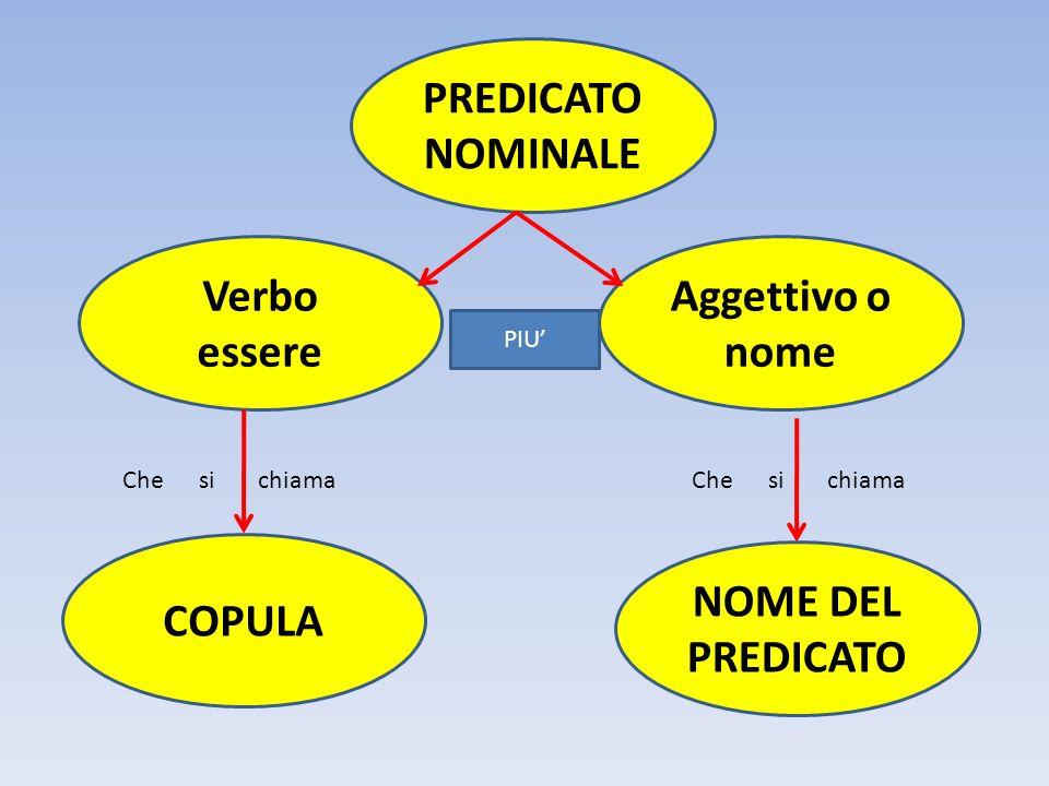 PATO E UN CALCIATORE Verbo essere copula Nome del predicato Nome (preceduto da articolo) PREDICATO NOMINALE