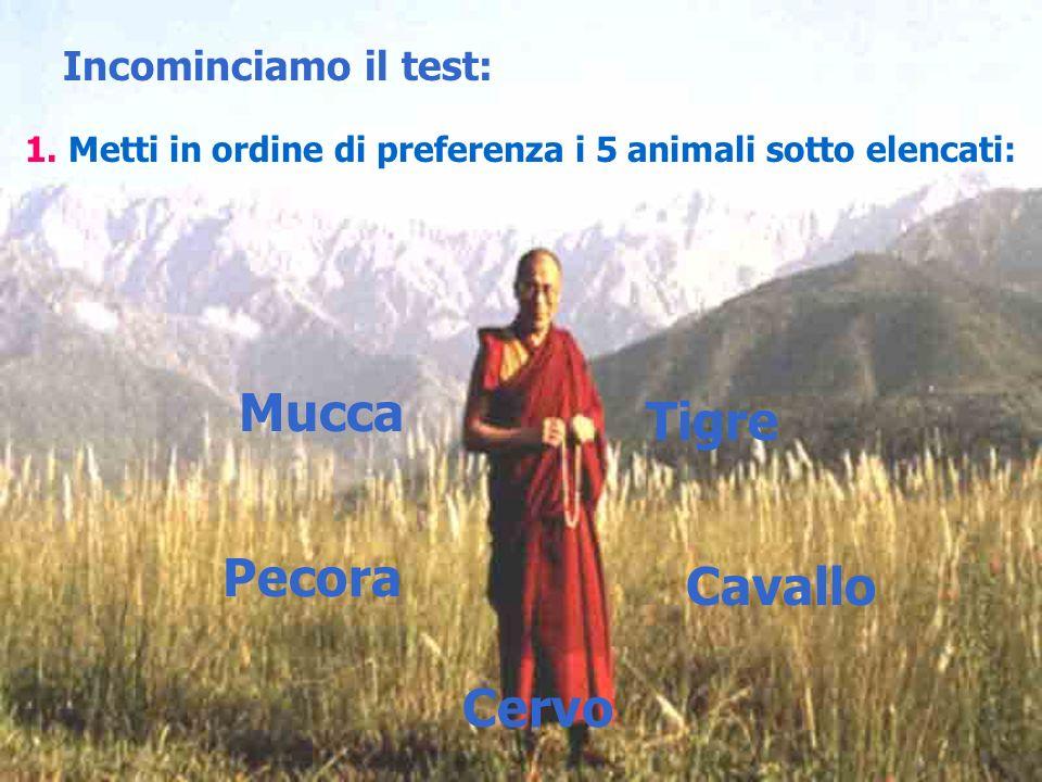 Incominciamo il test: 1. Metti in ordine di preferenza i 5 animali sotto elencati: Mucca Tigre Pecora Cavallo Cervo