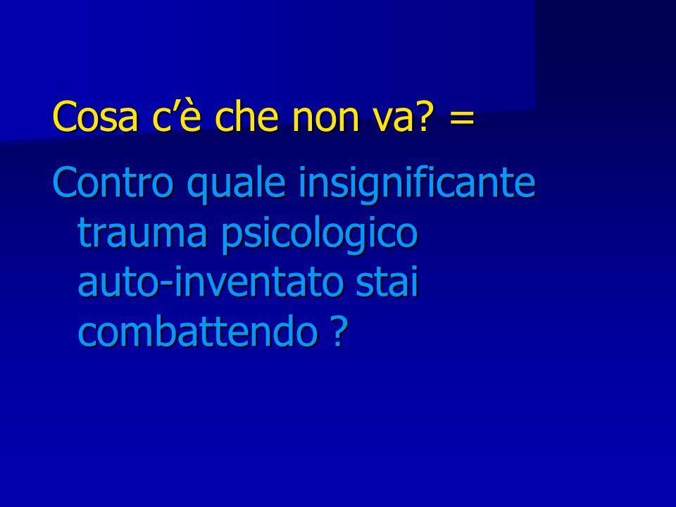 Cosa cè che non va? = Contro quale insignificante trauma psicologico auto-inventato stai combattendo ?