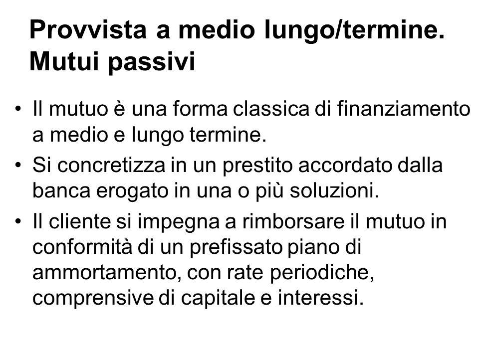 Provvista a medio lungo/termine. Mutui passivi Il mutuo è una forma classica di finanziamento a medio e lungo termine. Si concretizza in un prestito a