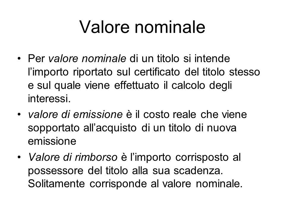 Valore nominale Per valore nominale di un titolo si intende limporto riportato sul certificato del titolo stesso e sul quale viene effettuato il calco