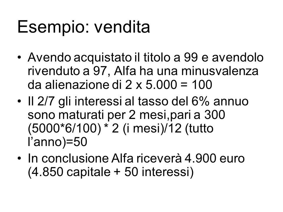 Esempio: vendita Avendo acquistato il titolo a 99 e avendolo rivenduto a 97, Alfa ha una minusvalenza da alienazione di 2 x 5.000 = 100 Il 2/7 gli int