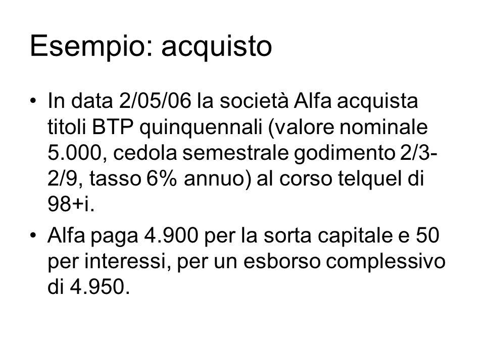 Esempio: acquisto In data 2/05/06 la società Alfa acquista titoli BTP quinquennali (valore nominale 5.000, cedola semestrale godimento 2/3- 2/9, tasso