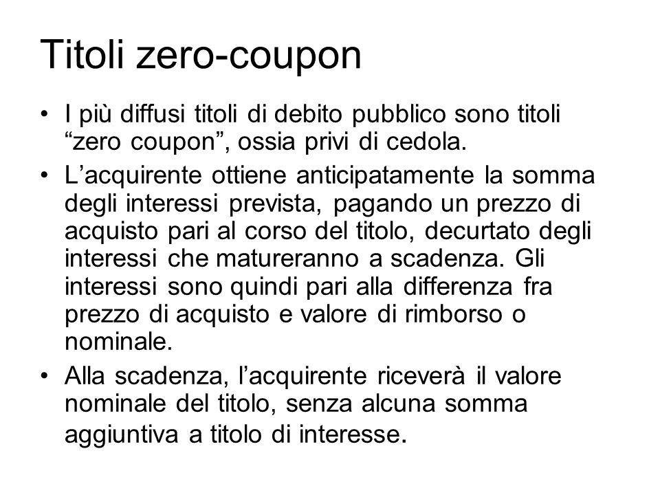 Titoli zero-coupon I più diffusi titoli di debito pubblico sono titoli zero coupon, ossia privi di cedola. Lacquirente ottiene anticipatamente la somm