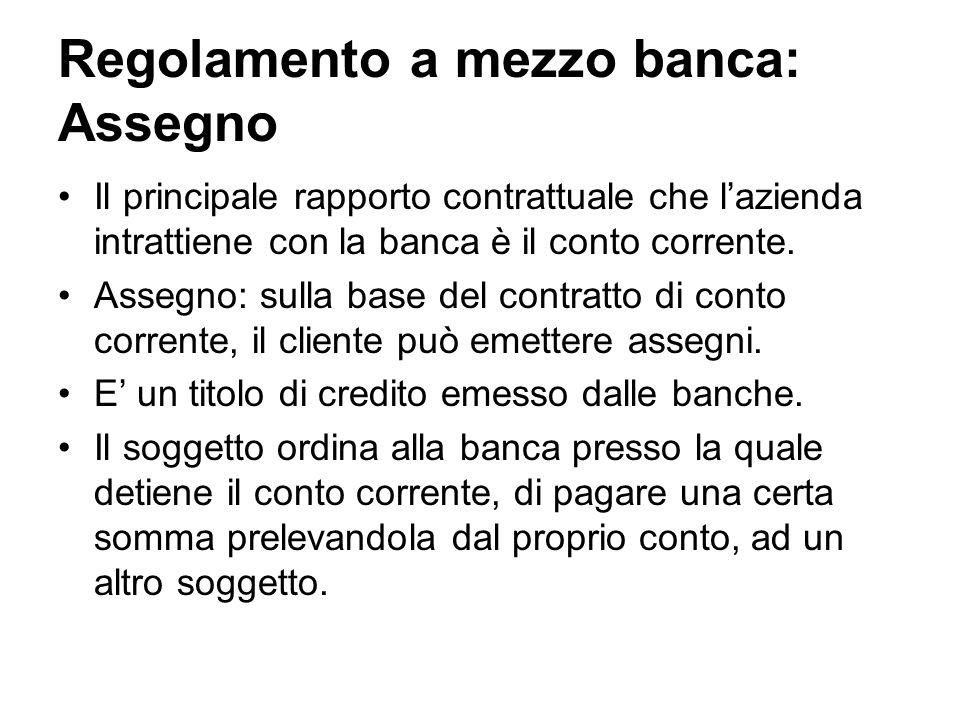 Regolamento a mezzo banca: Assegno Il principale rapporto contrattuale che lazienda intrattiene con la banca è il conto corrente. Assegno: sulla base