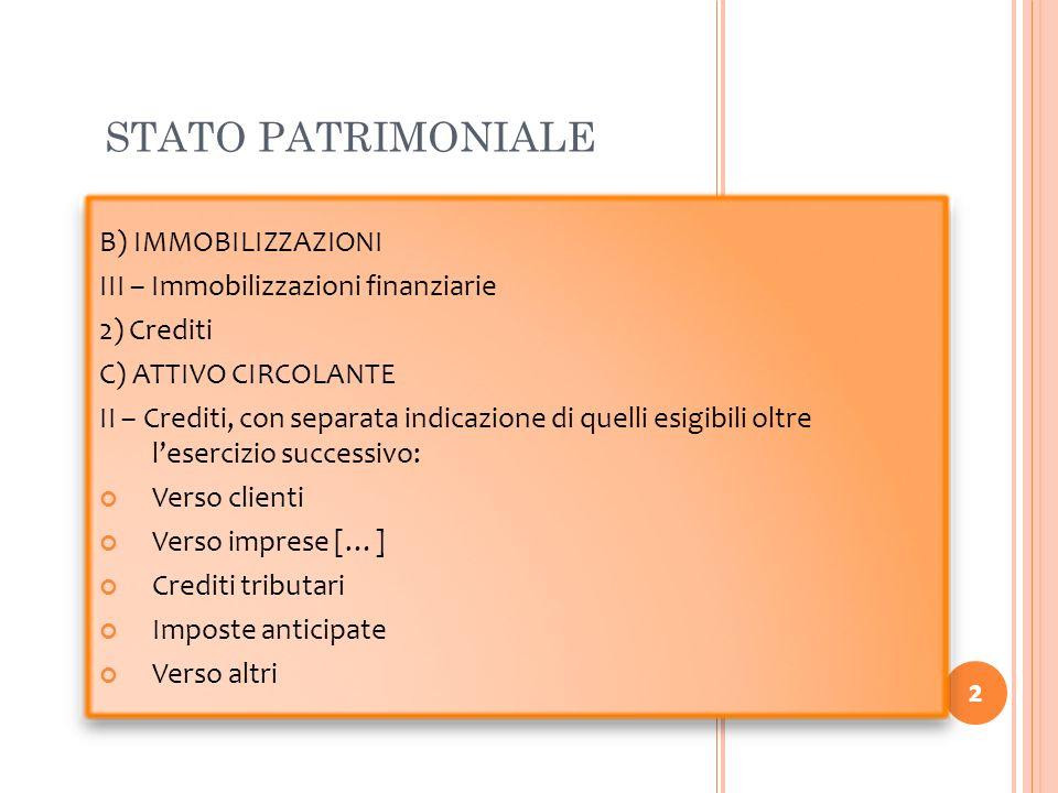 2 STATO PATRIMONIALE 2 B) IMMOBILIZZAZIONI III – Immobilizzazioni finanziarie 2) Crediti C) ATTIVO CIRCOLANTE II – Crediti, con separata indicazione d
