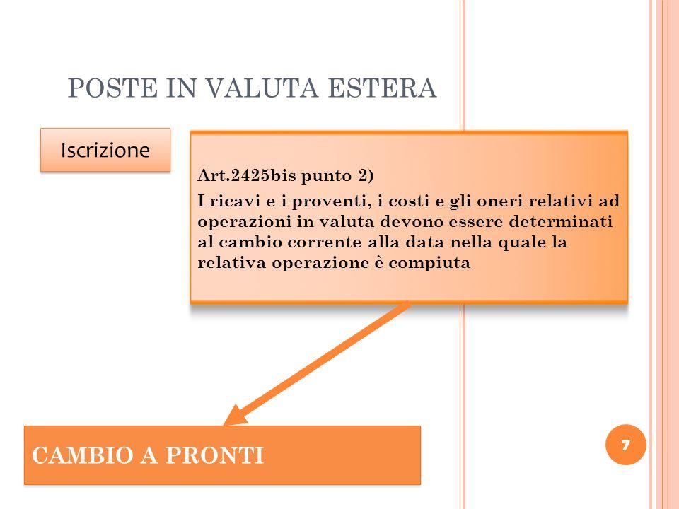 7 POSTE IN VALUTA ESTERA 7 Iscrizione Art.2425bis punto 2) I ricavi e i proventi, i costi e gli oneri relativi ad operazioni in valuta devono essere d