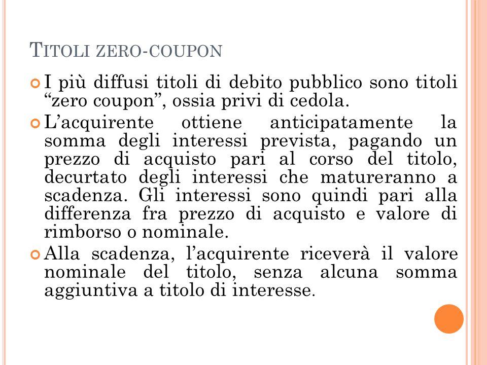 T ITOLI ZERO - COUPON I più diffusi titoli di debito pubblico sono titoli zero coupon, ossia privi di cedola. Lacquirente ottiene anticipatamente la s