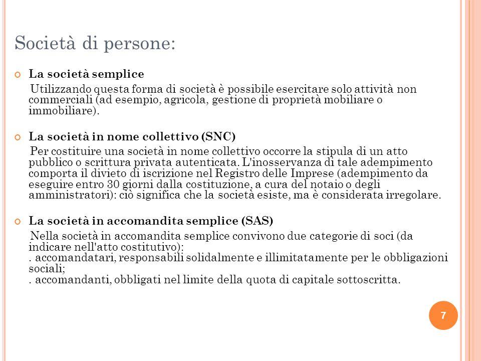 8 Società di capitali: La società a responsabilità limitata (SRL) La società per azioni (SPA) nella quale le partecipazioni dei soci sono espresse in azioni.