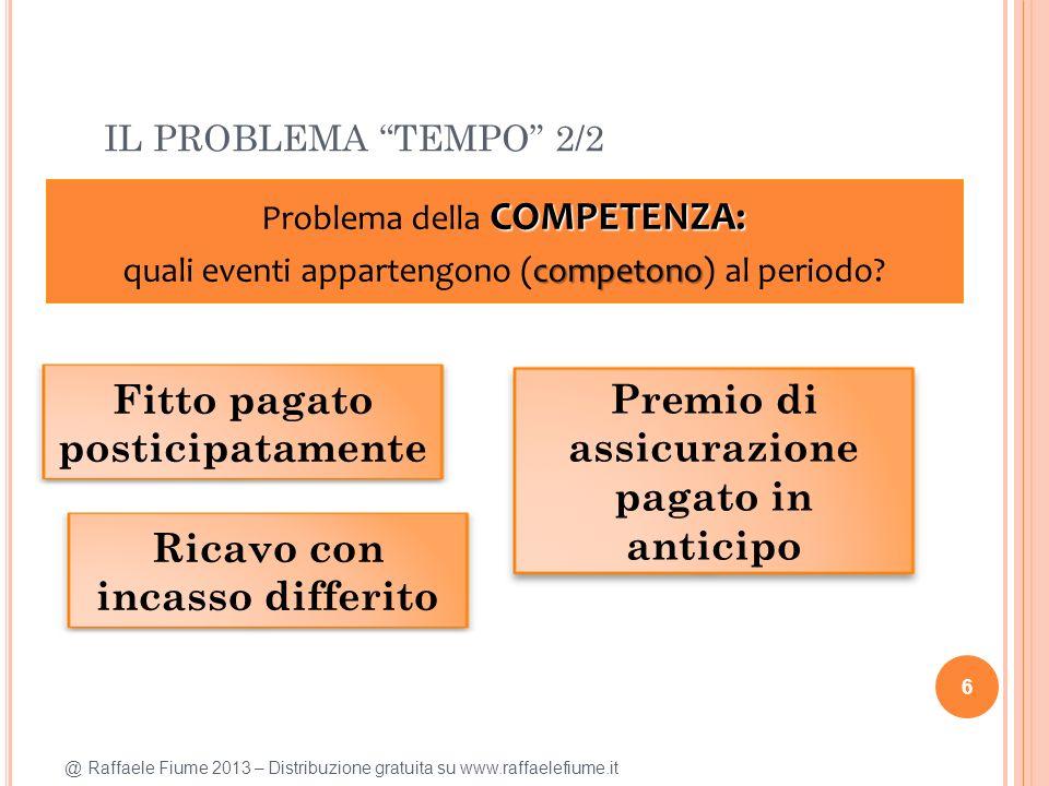 @ Raffaele Fiume 2013 – Distribuzione gratuita su www.raffaelefiume.it IL PROBLEMA TEMPO 2/2 6 COMPETENZA: Problema della COMPETENZA: competono quali eventi appartengono (competono) al periodo.