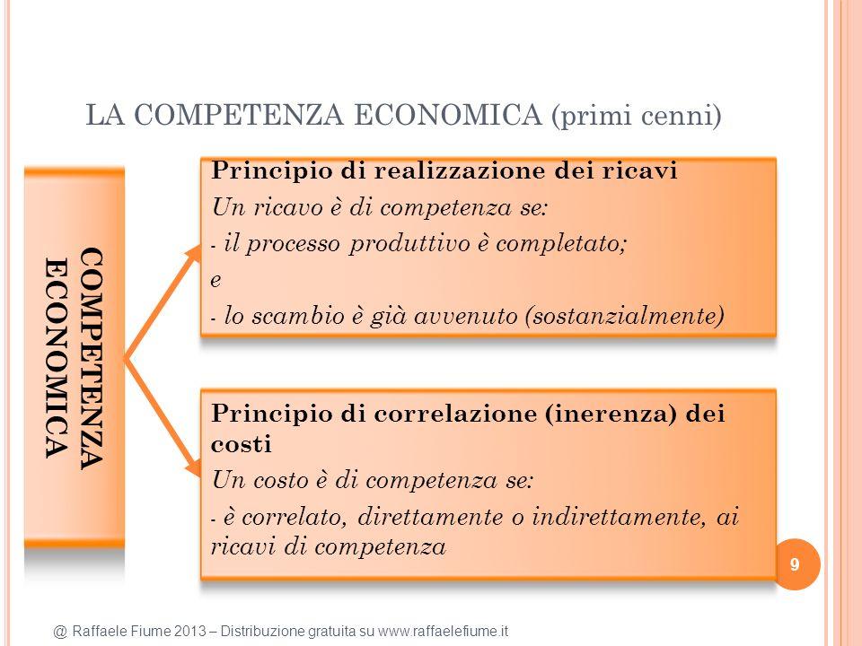 @ Raffaele Fiume 2013 – Distribuzione gratuita su www.raffaelefiume.it LA COMPETENZA ECONOMICA (primi cenni) 9 COMPETENZA ECONOMICA Principio di realizzazione dei ricavi Un ricavo è di competenza se: - il processo produttivo è completato; e - lo scambio è già avvenuto (sostanzialmente) Principio di correlazione (inerenza) dei costi Un costo è di competenza se: - è correlato, direttamente o indirettamente, ai ricavi di competenza